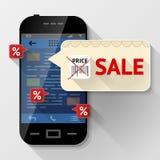 Smartphone mit Mitteilungsblase über Verkauf Stockfotografie