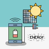 Smartphone mit schwacher Batterie und Stromkabel zur Solarenergie Stockfotos