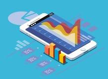Smartphone mit Statistiken Lizenzfreie Stockfotografie