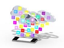 Smartphone mit Wolke der Anwendungsikonen Stockfotos