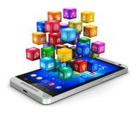 Smartphone mit Wolke von Ikonen Stockbilder