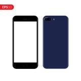 Smartphone, mobiel, telefoonmodel op witte achtergrond met het lege scherm wordt geïsoleerd dat Achter en vooraanzicht realistisc Royalty-vrije Stock Afbeelding