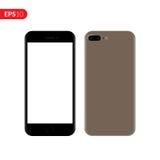 Smartphone, mobiel, telefoonmodel op witte achtergrond met het lege scherm wordt geïsoleerd dat Achter en vooraanzicht realistisc Royalty-vrije Stock Foto's
