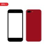 Smartphone, mobiel, telefoonmodel Telefoon van de achter en vooraanzicht de realistische vectorillustratie met rode kleur Stock Foto's