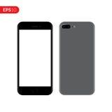 Smartphone mobil, telefonmodell som isoleras på vit bakgrund med den tomma skärmen Royaltyfri Fotografi