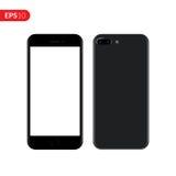 Smartphone mobil, telefonmodell som isoleras på vit bakgrund med den tomma skärmen Realistisk vektorillustration för tillbaka och Royaltyfri Fotografi
