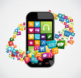 Smartphone mobilapplikationer Arkivbild