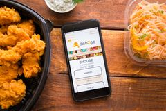 Smartphone with mobile application. Stavropol, Russian Federation. June 10, 2019. Smartphone with mobile application dish2go-Food Delivery stock photo