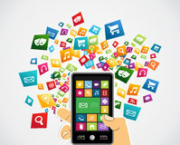 Smartphone mobile applications Stock Image