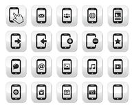 Smartphone / mobile or cell phone buttons set. Modern grey square buttons set - contact us, smartphone Stock Photos