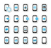 Smartphone / mobile or cell phone icons set. Modern phoen icons set as blue and black labels Stock Image