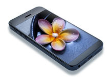 Smartphone Mobile Cell Phone. A cell phone on a white background with a flower on the screen royalty free stock photo