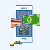 Smartphone mobile with flying dollar money banknote, credit card Royalty Free Stock Photo