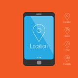 Smartphone with mobile gps navigation. Flat design Stock Images