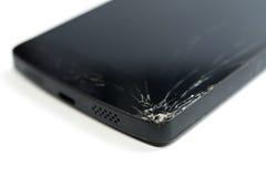 Smartphone mobile moderno con lo schermo rotto Fotografie Stock