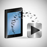 Smartphone mobile music notes play shadow Stock Images