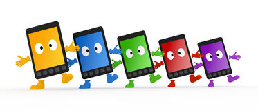 Smartphone / Mobile Phone. 5 generation mobile phones. Red, yellow, green, blue, purple color has Stock Photography