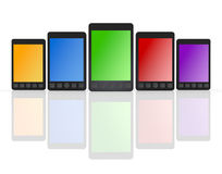 Smartphone / Mobile Phone. 5 generation mobile phones. Red, yellow, green, blue, purple color has Stock Photo