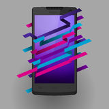 Smartphone. Mobile phone on grey background, color stripes on screen Royalty Free Stock Photography