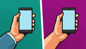 Smartphone, mobile phone in hand. Comics style design. Cartoon vector illustration Stock Images