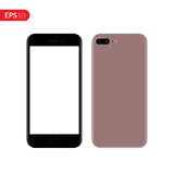Smartphone, mobile, phone mockup. Back and front view realistic vector illustration phone with pink color. Royalty Free Stock Photos