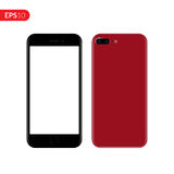 Smartphone, mobile, phone mockup. Back and front view realistic vector illustration phone with red color. Stock Photos