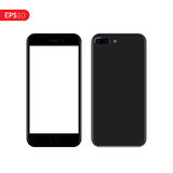 Smartphone, mobile, phone mockup isolated on white background with blank screen. Back and front view realistic vector illustration Royalty Free Stock Photography
