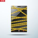 Smartphone, mobile phone warning tape wrapped. Royalty Free Stock Images