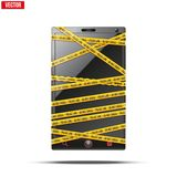Smartphone, mobile phone warning tape wrapped. Stock Photos