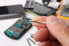 Smartphone and mobile phones to be repaired Stock Image