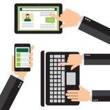 Smartphone-Mobile, -tablette und -laptop Lizenzfreies Stockfoto