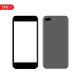 Smartphone, Mobile, Telefonmodell lokalisiert auf weißem Hintergrund mit leerem Bildschirm Lizenzfreie Stockfotografie