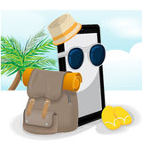 Smartphone Mobile Travel Adventurer Backpack Vector Stock Photos