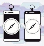 Smartphone-Mobiltelefonnavigation Kompass Stockfoto