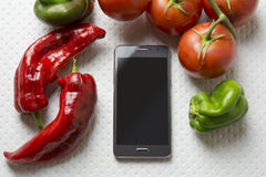 Smartphone mock-up food, cooking for my display, white backgroun Royalty Free Stock Images