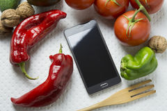 Smartphone mock-up food, cooking for my display, Stock Photo
