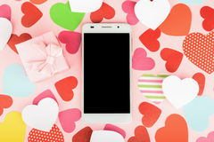Smartphone mock up template for Valentine's day with heart shape royalty free stock images