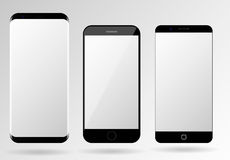 Smartphone mockup blank mobile phone template. Frameless cellphone set Royalty Free Stock Photography