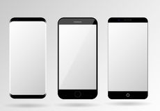 Smartphone mockup blank mobile phone template. Frameless cellphone set Royalty Free Illustration