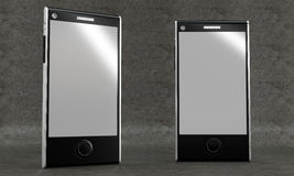 Smartphone mockup on concrete background. Front view. Stock Images
