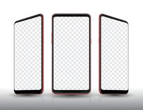 Smartphone mockup three colour and transparent screen Stock Photo