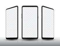 Smartphone mockup three view and transparent screen. Royalty Free Stock Photos