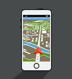 Smartphone moderne avec l'application de navigation Photo stock