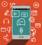 Smartphone moderne avec l'illustration d'icônes de media Photographie stock