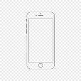 Smartphone Moderne telefoon in lineaire stijl Smartphone op transparant wordt geïsoleerd die stock illustratie