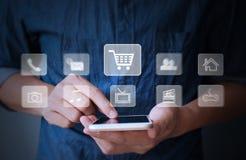 Smartphone moderno à disposição Imagens de Stock
