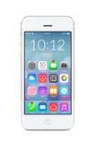 Smartphone moderno bianco con le icone dell'applicazione sullo schermo Fotografie Stock Libere da Diritti