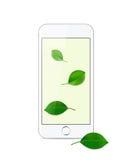 Smartphone moderno branco em um fundo branco Fotos de Stock Royalty Free