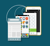Smartphone moderno com as telas diferentes da aplicação Fotografia de Stock Royalty Free