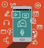 Smartphone moderno com ilustração dos ícones dos meios Fotografia de Stock